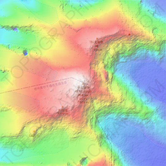 Mapa topográfico 慕士塔格峰 Muztagh Ata مۇز تاغ ئاتا, mapa de relieve, mapa de altitud