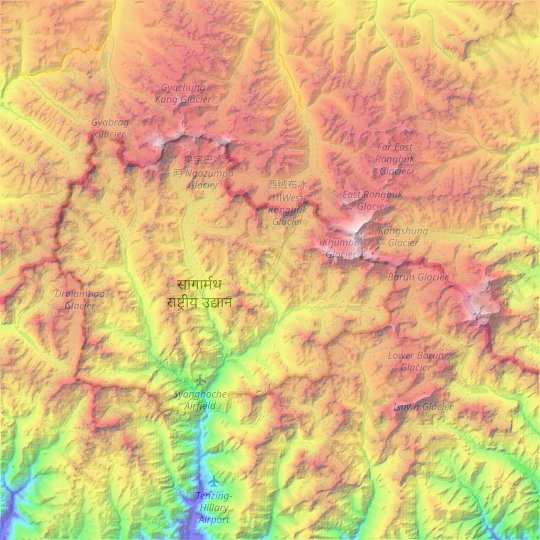 Mapa topográfico Khumjung, altitud, relieve
